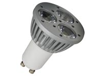 3 x 1W LED LAMP - KOUD WIT - 230V - GU10